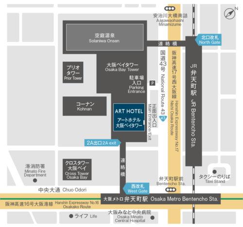 弁天町駅とアートホテルの地図